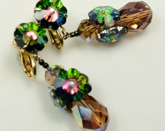 Vendome© Drop Earrings with Crystal Margarita and AB-coated Beads