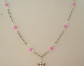 """Pink Beaded Necklace with Silver-Tone Bows 18"""""""