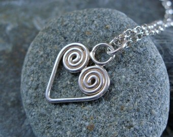 Sterling Silver 'Karenza' Pendant and Chain. Handmade Jewellery by Joel Martin of Cornwall