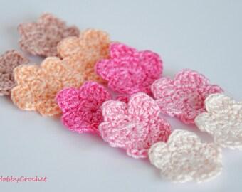 10 Tiny Crochet Flowers, Handmade Crochet flowers, Small Crochet Flowers, Shade of pink, Flowers  Appliques - set of 10