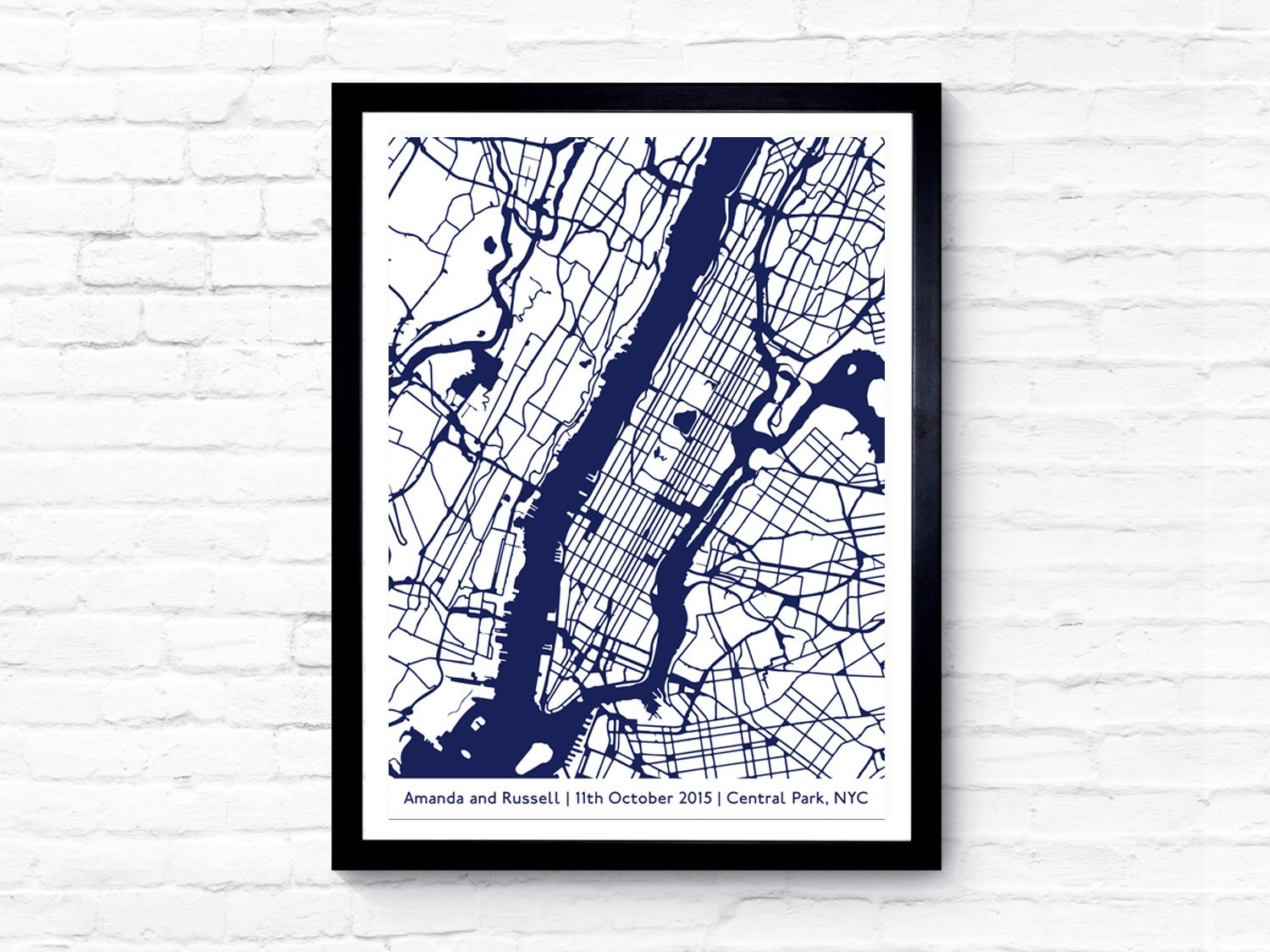 Custom Map Personalised Map Art Location Print Street Map Print - Nyc map art