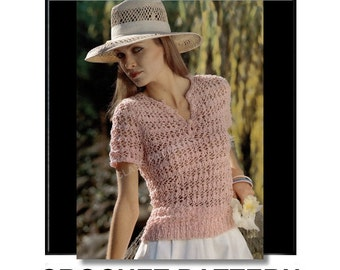Crochet summer blouse pattern, short sleeves, vintage crochet pattern, pattern, cool and lacey, pullover blouse