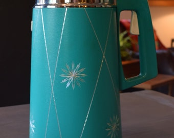 Vintage Everest Thermos Drink Server, Teal Blue Air Pot, Travel Coffee Pitcher, Retro Kitchen
