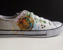 Wiccan, pagan,Harry Potter inspired, custom customized customised trainers, sneakers, owl, hogwarts, cat, witch, moon, toms, vans, converse