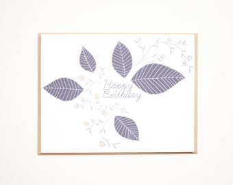 Card, Happy Birthday, Blank Birthday card, Greeting Card, botanical, Floral Card, Leaf Card, blue and yellow, flower and leaf illustration