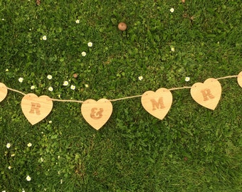 Heart Style Mr & Mrs, Mrs And Mrs, Mr And Mr, Oak Wedding Bunting, Rustic Wedding, Wood Bunting, Wooden Hearts, Wedding Decor
