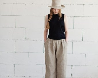 100% Linen Natural Trousers, hand made in London, sustainable, artisan, fashion