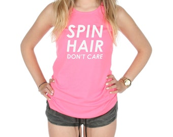 Spin Hair Don't Care Racerback Gym Vest Tank Top Activewear Gym Yoga Fitness Workout