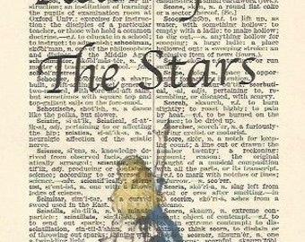 reach for the stars alice in wonderland style vintage print