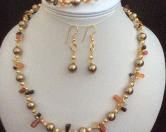 Golden Necklace, Bracelet and Earring set