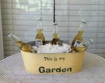 This is my Garden Galvanized Planter//Metal Garden Bucket//Gifts for gardener//One of a Kind//Fun Garden//Patio Pot//Pot with text//