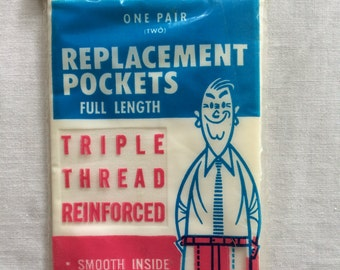 """Vintage New Sew On Replacement Pockets White Package of 2 by Penn 12-1/2"""" x 6"""" each"""