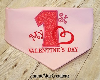 1st Valentine Dog Bandana with scroll heart design