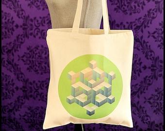Green Geometric Tote Handbag, Geometric Shopping Bag, One of a Kind