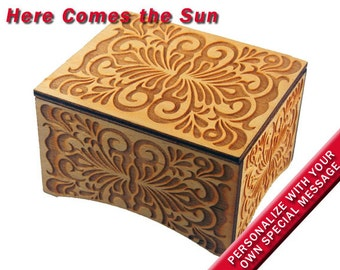 """Windup Music Box, """"Here Comes the Sun"""" tune by the Beatles, Laser Engraved Birch Wood"""