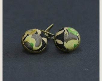 Drop Liberty Fabric earrings - Green Blossom