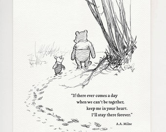 I'll stay there forever - Winnie the Pooh quotes - classic style print based on original illustration by E.H. Shepard #44