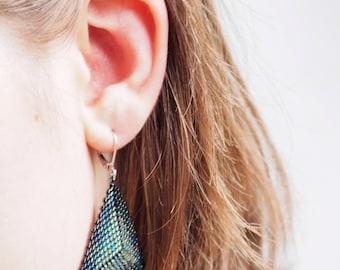 Earrings pearls, peyote, peyote, earrings green triangle earrings earrings, black earrings