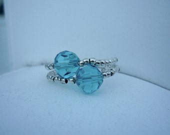 Blue and Silver Memory Wire Ring
