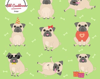 Cute pugs clipart commercial use, dog clipart,  vector graphics, vector cliparts CL054