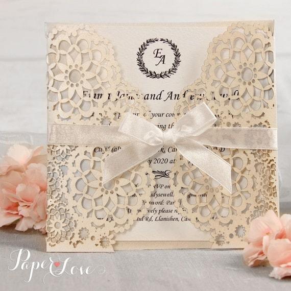 Personalised Laser Cut Wedding Invitations Day Evening Invites Handmade