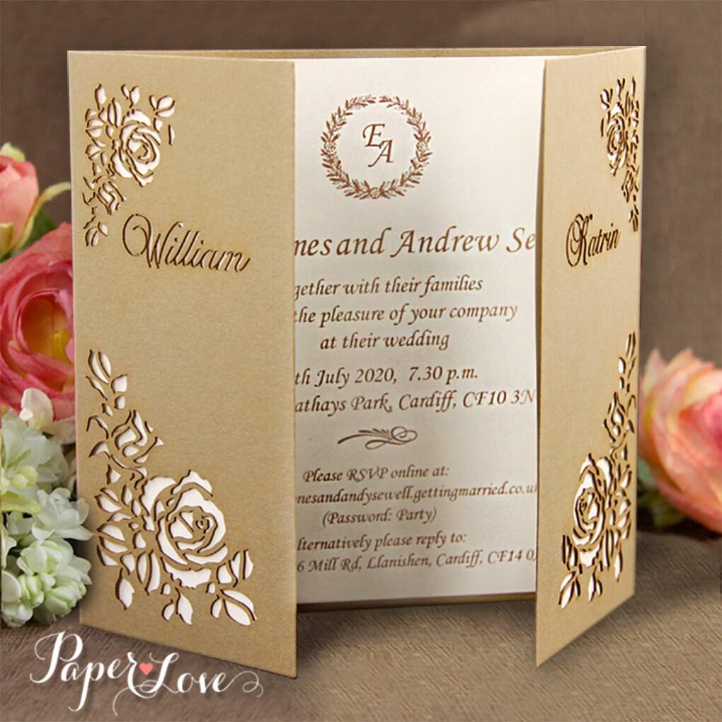 Wedding Laser Cut Invitations: Flower Corners Laser Cut Gold Gatefold Wedding Day Invitation