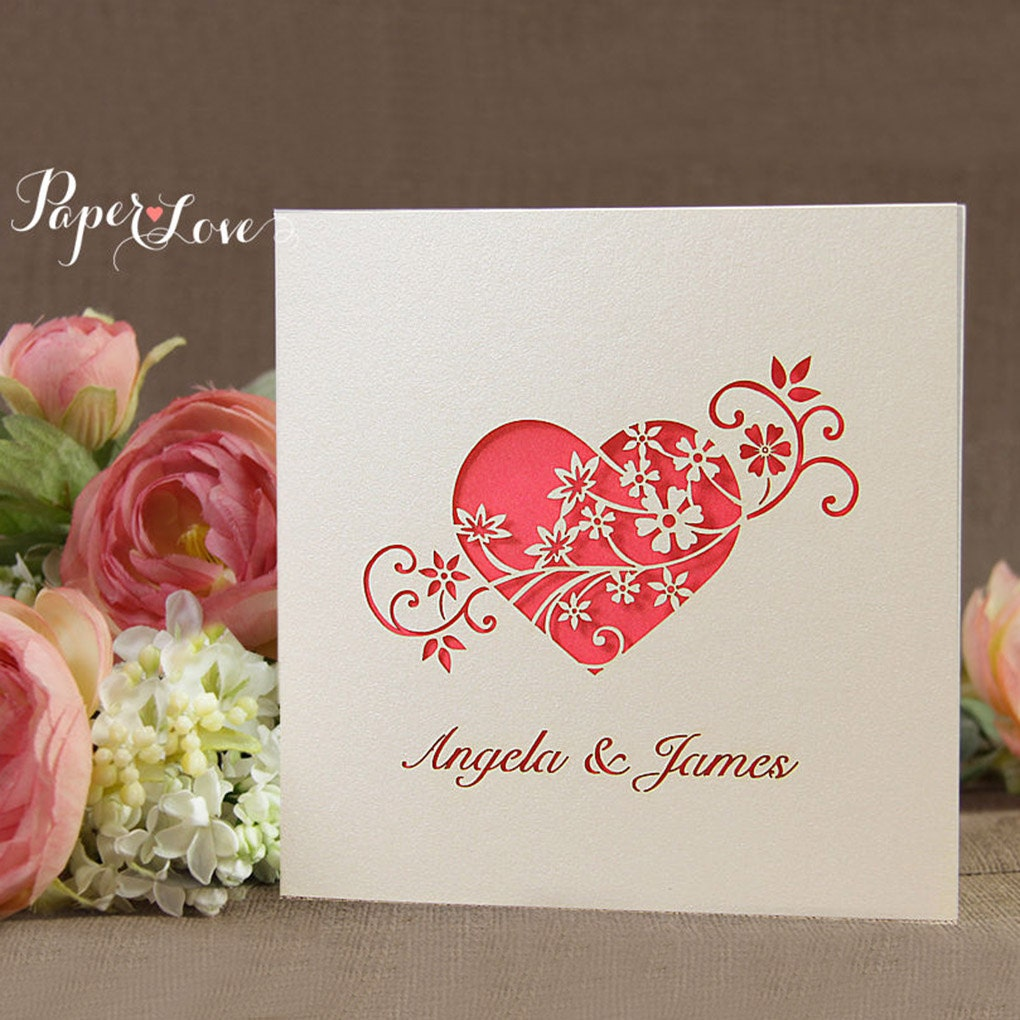 Red Laser Cut Heart with Flowers Day Wedding Invitation