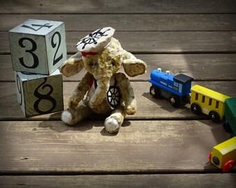 Artists Miniature Teddy Elephant Sailor, Navy teddy bear elephant, teddy toy, elephant teddy, soft toy. Nautical coastal beach style gifts.