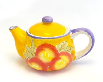 Yellow & Purple Tea Pot with Fruit Pattern