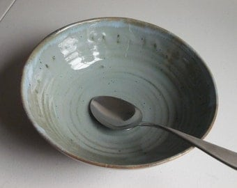 Bluegreen stoneware serving bowl