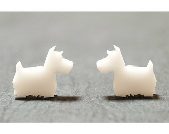 Scotty Dog Stud Earrings - White // Scottie Dog Studs / Scottie Dog Earrings / Scottish Terrier / Dog Jewellery / Dog Earrings / Dog Jewelry
