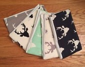 Set of cloth diaper burp cloths, Deer burp cloths, Buck burp cloths, Hunting burp clothes, Hello Bear burp cloths, Set of five (5)