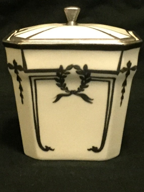 FREE SHIPPING--Vintage-1930's-Lenox-.925-Sterling-Inlay-Marmalade/Jam-Jar-Monogramed