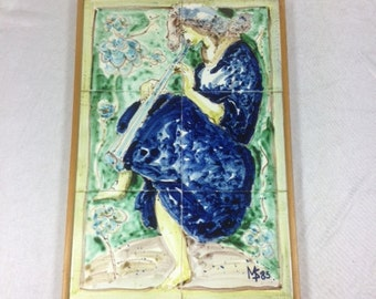 Beautiful Vintage Hand Painted Tile Serving Tray