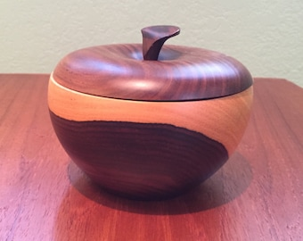 Vintage Wood Apple Bowl With Lid