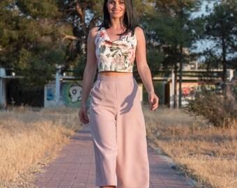 Jupe-culotte , crepe , woman , fashion , ss16 , pink , handmade , kokonacreations.