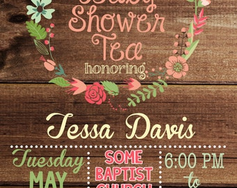 Rustic Baby Shower Tea Invitation