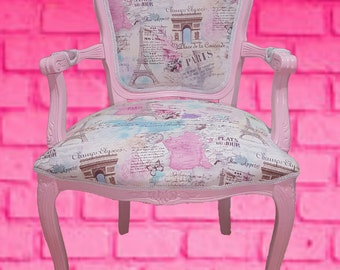Louis XV Accent chair Paris Lovers fabric Pink carved frame White trim pink paris chair Eiffel tower amelierococo french chair