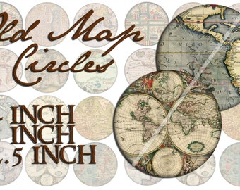 Old Map Circles, 4 3 2.5 inch digital download 8.5x11 sheets, JPG & PDF, instant printable antique ancient earth chart