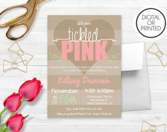 Tickled Pink Baby Shower Invitations, Baby Girl Invitations, Pink and Brown Baby Shower Invitations, Sprinkle Invitations, Printable
