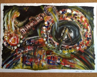 "Original one off painting ""At the fairground"" A3"