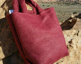 Burgundy and metallic gold burlap market bag
