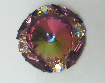 Colorful vintage watermelon rivoli pin