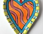 Handmade Heart Earthenware Pottery Heart Dish made by Kristin Nicholas - Pink, Orange, Chartreuse, Red, Teal + Turquoise