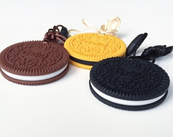 Large teething fake cookie biscuit oreo inspired, Silicone Pendant, DIY Teething Necklace Toy Chocolate Baby Chew  Special needs cream brown