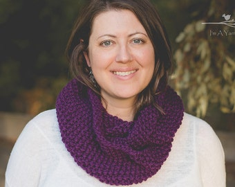 Purple Infinity Scarf, Chunky Knit Scarf, Double Infinity Scarf, Knitted Scarf, Long Infinity Scarf, Holiday Accessories, Christmas Cowl