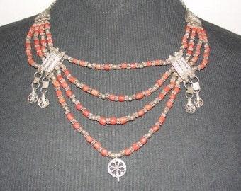 Sri Lankan Necklace Sterling Silver Filigree Mediterranean Red Coral Bead