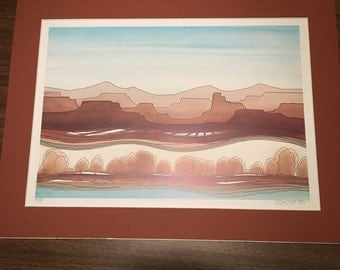 """Vintage 1992 Greg Kyle """"Canyon Park"""" Lithograph Marked Artist's Proof Signed"""