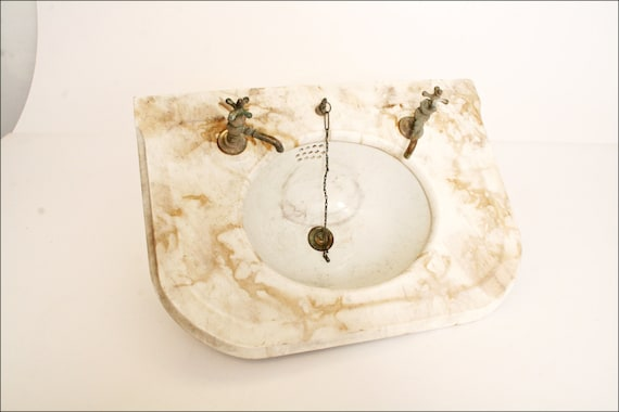 Vintage MARBLE SINK w FAUCET antique bathroom shabby architectural ...