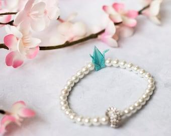 Japanese Origami Crane Bracelet, Something Blue, Wedding Jewelry, Bridal Bracelet, Origami Jewelry, Origami Wedding, Japanese Crane Jewelry